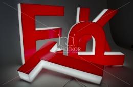 Gotowy, świecący napis SKLEP - litery 3D podświetlane LED, 12V