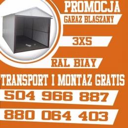 Garaż standardowy 3x5+ brama uchylna Ral Biały PROMOCJA !