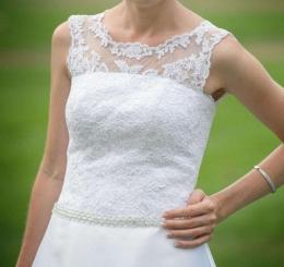 Suknia ślubna biała śnieżnobiała rozmiar 34 36 stan idealny