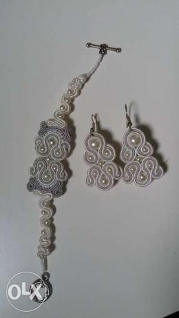 Komplet ślubny SUTASZ, biało-srebrny, srebro 925