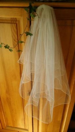 Welon ślubny z kryształkami, 2 warstwy, 60 cm i 80 cm