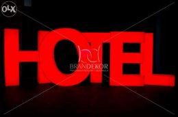 HOTEL / MOTEL - napis, reklama, świecący LED znak, oznaczenie