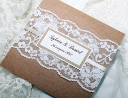 Zaproszenia na ślub z koronką