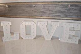 LOVE na wynajem - duży napis z żarówkami, na sesję ślubną, Hit sezonu!