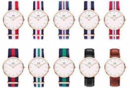 Popularne kolorowe zegarki Daniel Wellington