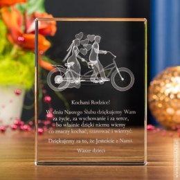 Kryształowa statuetka Para Młoda 3D na Tandemie jako podziękowanie dla Rodziców