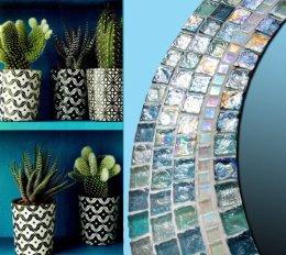 Lustro łazienkowe kryształowe rękodzieło okrągłe prezent mozaika
