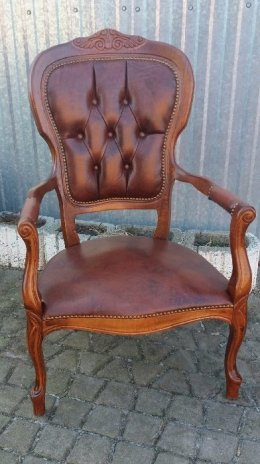 Francuski fotel w stylu ludwika -skóra naturalna