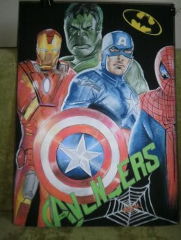 Obraz Marvel DC Rysunek Pastelowy Avengers - Unikatowy 50x70 cm Promo