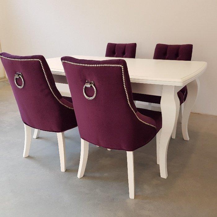 Nowość Krzesło glamour białe tapicerowane pikowane kołatka pinezki AC98