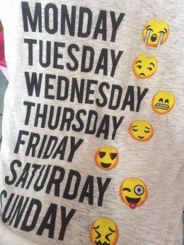 Nowa koszulka t-shirt dni tygodnia, week, emoji emotikony