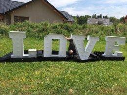 Napis LOVE, 120 cm wysokości, z żarówkami LED, stan bardzo dobry!