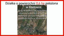 Działka rolna budowlana z pozwoleniem na budowę w Kozłowie.