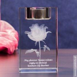 Świecznik z różą 3D na prezent dla ukochanej