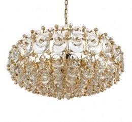 Palwa oryginalny złocony żyrandol designerski z kryształami 1960r