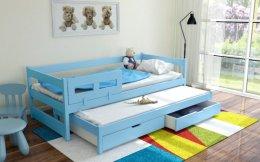 Dwuosobowe łóżko drewniane Alan z szufladami oraz materacami gratis !