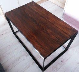 Duży stolik kawowy stal dąb loft stół konsola na wymiar