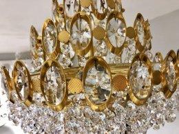 Kryształowy pozłacany stary żyrandol glamour pałacowy