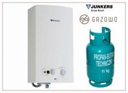 Piec gazowy Junkers-Gaz z butli propan-butan przepływowy podgrzewacz