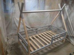 ŁÓŻECZKO TIPI 140 X 70 zdejmowane poziome barierki szare łóżko