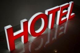 Sprzedam litery HOTEL, podświetlane, 3D, 50 cm wysokości, prawie nowe