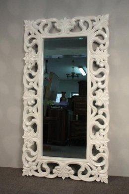 Lustro w Białej Ramie-Fazowana Tafla - Glamour -Promocja