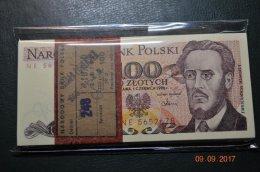 Paczka banknotów 100 x 100 zł 1986 s. NE UNC (rzadka)