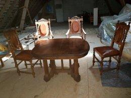 Antyki antyk Ludwik Barok 2 krzesła 2× tron stół skóra hotel stare