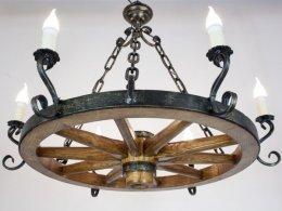 Lampa do restauracji karczmy altany żyrandol kuty drewno