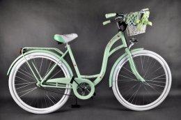 Nowy rower (MIEJSKI/DAMSKI) pistacjowo-biały zestaw POLKA DOTS.