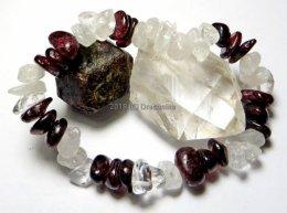 Bransoletka granat kryształ górski mix mała lub duża sieczka