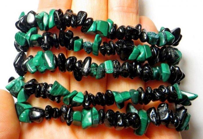 Bransoletka sieczka malachit turmalin mix podwójna ochrona