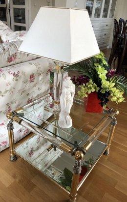 Hollywood Regency Style designerski stolik 60/60cm mosiądz chrom 1980r