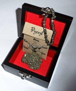 Szkatułka z minerałem piryt Peru i bransoletka prezent ezoteryka