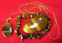 Szkatułka z minerałem tygrysie oko bransoletka wisiorek prezent