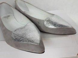 Balerinki zamszowe POLAŃSKI szare skorzane baletki czółenka 38
