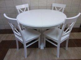 Stół okrągły rozkładany biały 110 +3 wkładki jedna noga 4-10 krzesłeł