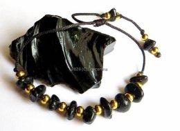 Bransoletka obsydian czarny na sznurku wiązana złote kulki