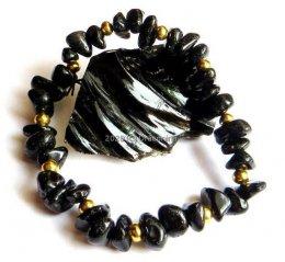 Bransoletka obsydian czarny złote kulki sieczka czarna gumka