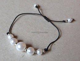 Bransoletka perełki na sznurku wiązana regulowana