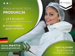 PRACOWNIK PRODUKCJI (K/M)- BEZ JĘZYKA- NAWET DO 12,50 € BRUTTO/H - NIEMCY