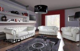 Chesterfield szeroki-luksusowy i stylowy komplet wypoczynkowy