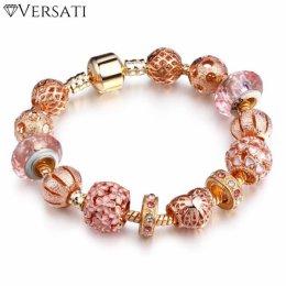 Kryształowa Bransoletka z Koralikami Versati – Różowa