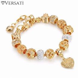 Kryształowa Bransoletka z Koralikami Versati – Złota