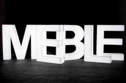 Napis MEBLE, intensywnie biały, 200x40 cm