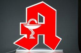 Znak apteczny A, świecący, 80 cm wys., biał-czerw
